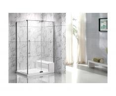 Paroi d'angle de douche avec receveur et assise DELIA - L122 x l81 x H190 cm