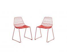 Lot de 2 chaises de jardin empilables LONDRINA en métal - Rouge