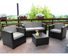 Salon de jardin SOPHIE II en résine moulée: 2 fauteuils, un canapé 2 places, une table basse - anthracite