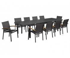 Salle à manger de jardin extensible NAURU en aluminium: une table extensible L220/300cm et 10 fauteuils empilables