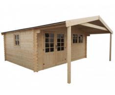 Abris de jardin chalet en bois NEVADA avec carport - surface 20m² + 9,5m² - épaisseur 45mm