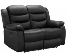 Canapé 2 places relax en cuir de buffle PLITON - Noir