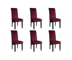 Lot de 6 chaises DELINA - Velours matelassé & pieds bois - Bordeaux