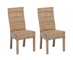 Lot de 2 chaises HEVEA II - Rotin tressé & acajou