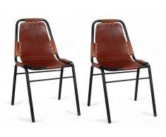 Lot de 2 chaises INDIANOLA - Cuir & Métal - Caramel