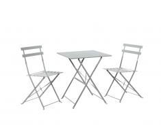 Salle à manger de jardin pliante TACNA en métal : une table et 2 chaises - Gris