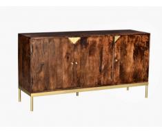 Buffet ALMARO - 3 portes - Bois de manguier et métal doré