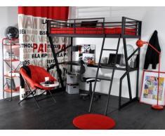 Lit mezzanine TEENAGER - 90x190cm - Bureau intégré - Anthracite