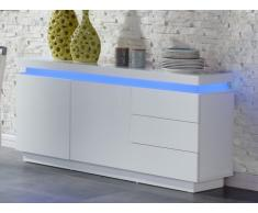 Buffet bas EMERSON II - LEDs - 2 portes & 3 tiroirs - MDF laqué blanc