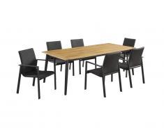 Salle à manger de jardin CANCUN en aluminium et acacia: une table L210cm et 6 fauteuils empilables