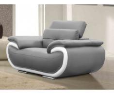 Fauteuil en cuir SMILEY - Bicolore gris et blanc