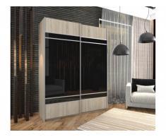 Armoire avec miroir noir TALYA - 2 portes coulissantes - L.160 cm - Chêne et noir