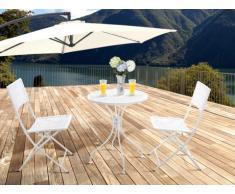 Salle à manger de jardin en métal effet ajouré DENTELLE : une petite table et 2 chaises - Blanc