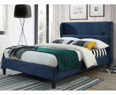 Lit AMEDEE - 140x190cm - Tissu effet velours - Bleu nuit