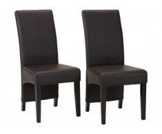 Lot de 2 chaises PAVIE - Simili chocolat pieds bois foncé