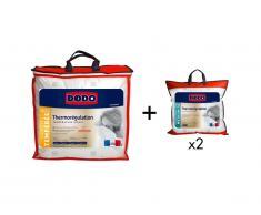 Pack DODO couette 240 x 260 cm + 2 oreillers chaleur parfaite THERMO REGULATION 65 x 65 cm