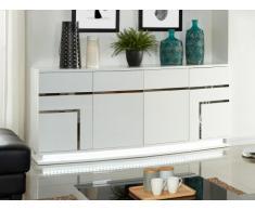Buffet LUMINESCENCE - MDF laqué blanc et LEDs - 4 portes