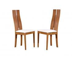 Lot de 2 chaises SALENA - Hêtre massif coloris chêne