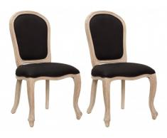 Lot de 2 chaises LOUIS-PHILIPPE - Tissu & Bois d'Hévéa - Noir