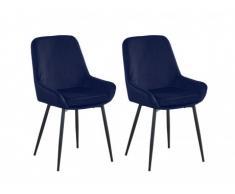 Lot de 2 chaises BELIZE - Velours - Bleu nuit