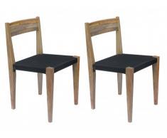 Lot de 2 chaises JALOPY - Bois de manguier massif & corde de coton