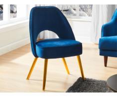Chaise LUCELIA - Velours & métal - Bleu nuit & doré