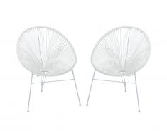 Lot de 2 chaises de jardin ALIOS II en fils de résine tressés - blanc