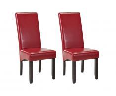 Lot de 2 chaises ROVIGO - Simili rouge brillant - Pieds bois foncé