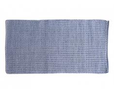Tapis de couloir tissé main effet crochet en coton HALK - 80 x 200 cm - Gris Bleu