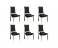 Lot de 6 chaises AMBOISE - Tissu & Bois de Chêne - Noir