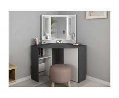 Coiffeuse CHARLENE - Miroir à LEDs et rangements - Blanc et gris