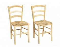 Lot de 2 chaises PAYSANNE - Hêtre massif & paille de riz - Teinte : Naturel