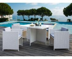 Salle à manger BORNEO en resine tressée blanche et verre trempé : 4 fauteuils et une table - assise grise