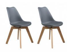 Lot de 2 chaises PADDY - Polypropylène, simili & chêne - Gris