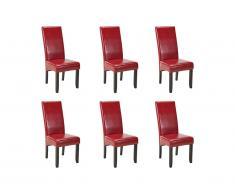 Lot de 6 chaises ROVIGO - Simili rouge brillant - Pieds bois foncé