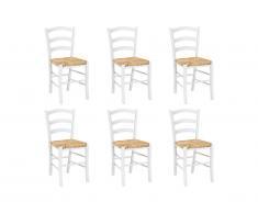 Lot de 6 chaises PAYSANNE - Hêtre massif teinté blanc, paille de riz