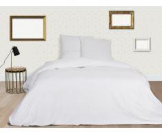 Parure de lit BEAUREGARD en satin - housse de couette 220x240cm + 2 taies d'oreiller 65x65 cm - Blanc