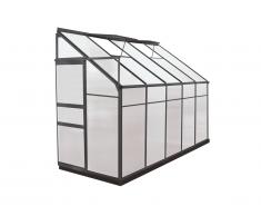 Serre de Jardin adossée en polycarbonate de 3.7 m² CALICE II avec embase - Anthracite