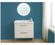 Ensemble salle de bain VATINE - meuble sous vasque + vasque + miroir - laqué blanc