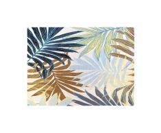Tapis intérieur ou extérieur ethnique motifs feuilles VEGETO - 150 x 200 cm - Vert
