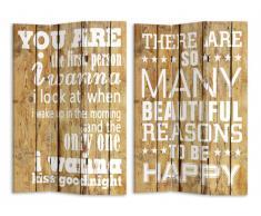 Paravent imprimé 3 pans GRAFITY- 120 x 180 cm - couleur bois naturel