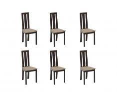 Lot de 6 chaises DOMINGO - Hêtre massif wengé