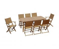 Salle à manger de jardin pliante NEMBY en acacia: une table extensible L180/240cm + 2 fauteuils + 6 chaises - Rallonge papillon