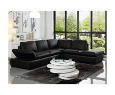 Canapé d'angle en cuir ONYX II - Noir - Angle droit