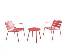 Salon de jardin MIRMANDE en métal: 2 fauteuils bas empilables et une table d'appoint - Rouge