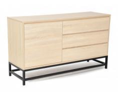 Buffet NEMIO - 1 porte & 3 tiroirs - Coloris: Chêne