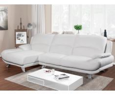 Canapé d'angle en simili MUSKO - Blanc - Angle gauche