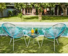 Salon de jardin ALIOS II en fils de résine tressés - Anthracite, bleu, gris clair: 2 chaises et une table