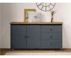 Buffet NEWPORT - 2 portes & 3 tiroirs - Pin - Gris bleu et chêne