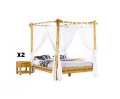 Pack CHAMBRE MALINDI - lit à baldaquin 160*200 cm + 2 chevets - Bambou